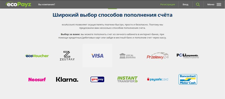 Пополнение EcoPayz счета