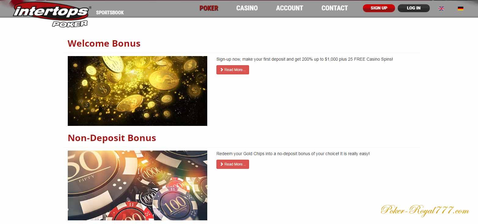 intertops poker бонусы