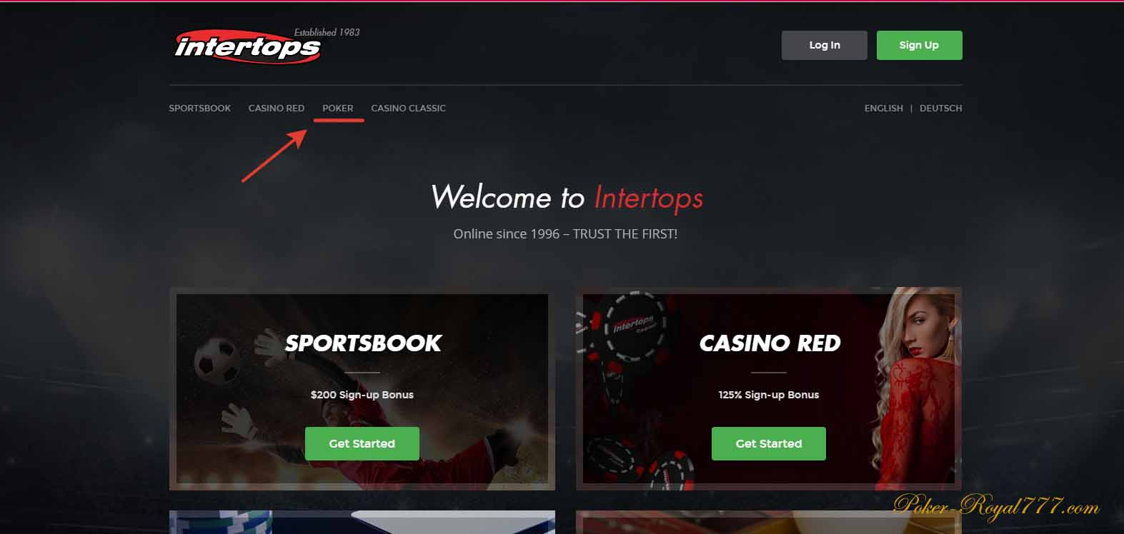 Intertops Poker регистрация